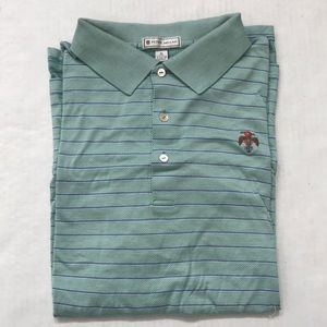 Peter Millar Green & White Stripe Golf Polo Shirt